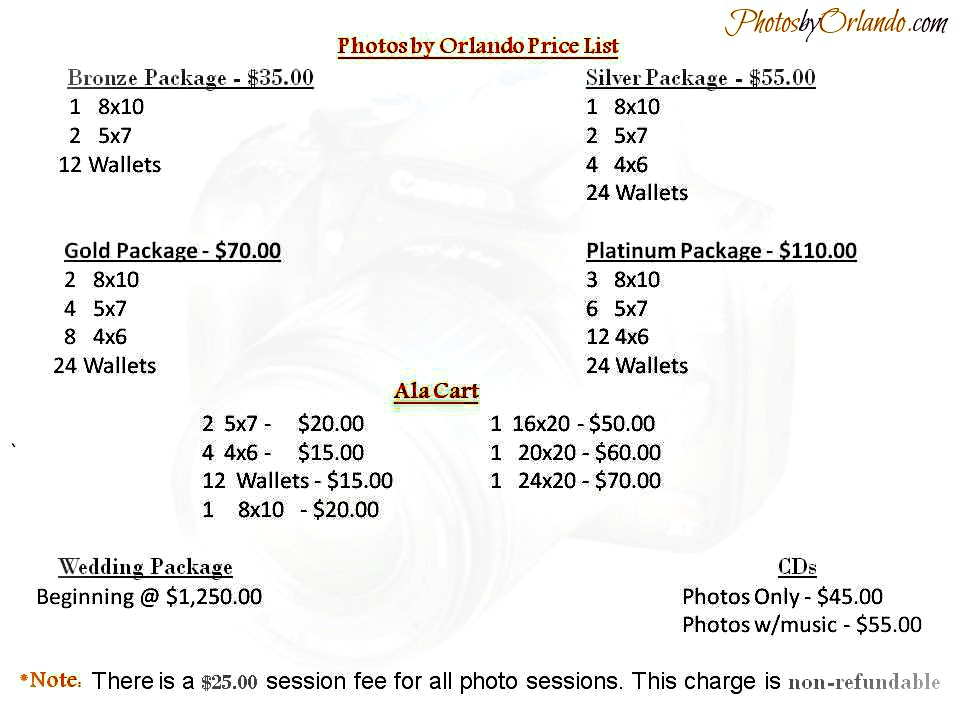 Photos by Orlando Price List with picmonkey